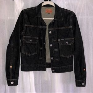 Vintage charcoal colored denim jacket by Guess S